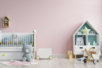 Mockup wall in the children's room on wall pink colors background.