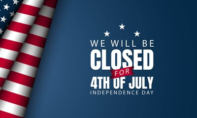 Door stickers Wall Decor With Your Own Photos American Independence Day Background. We will be closed for Fourth of July.