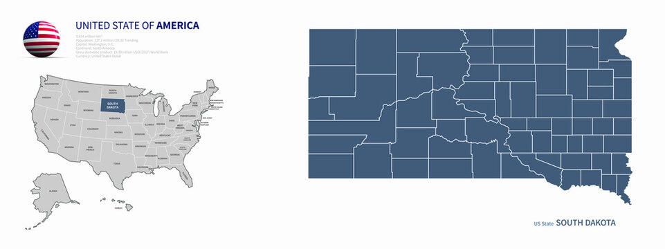 south dakota map. u.s. states vector map of south dakota. us states map.