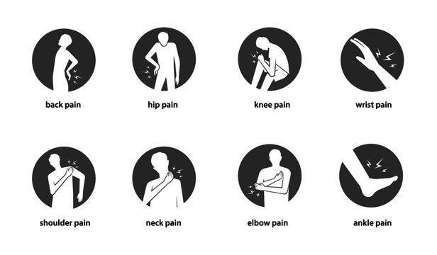 human body pain icon set