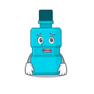 Cartoon image design mouthwash showing worried face