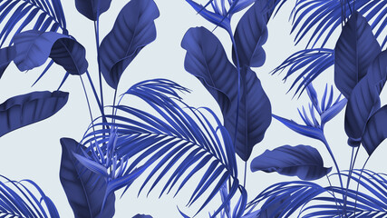 Floral seamless pattern, heliconia flowers with various leaves in blue