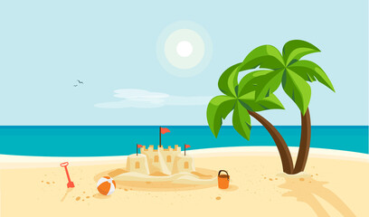 Lonely sand castle on sandy beach with palm tree and blue sea ocean coast line. Clear summer sunny sky in background. Kid toys left near sandcastle on holiday. Cartoon style flat vector illustration.
