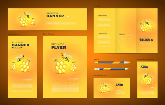 Honey mead bee Set flyer cover, tri-fold, banner, roll up banner, business card yellow color