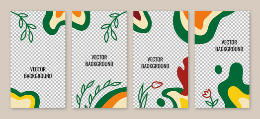 Set of abstract backgrounds with leaves, plants and copy space for text. Vector. Creative backgrounds in minimal trendy style for social media stories wallpapers in minimal style.