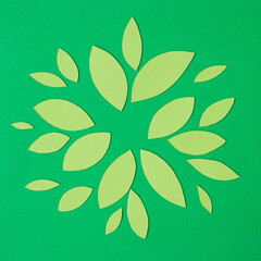 Wall Mural - abstract green paper leaves