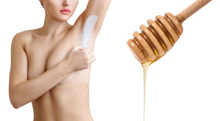 Woman holds feather near clean armpit and honey spoon.