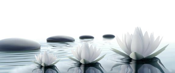 Fotorolgordijn Waterlelies lilie wodne i kamienie | water lilies and stones