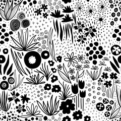 Monochrome flower field pastel black on white seamless vector pattern. Repeating liberty doodle flower meadow background. Scandinavian style line art florals. For fabric, wallpaper, home decor