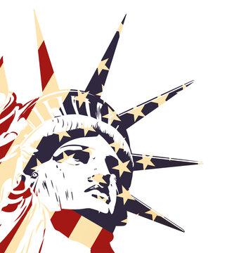 Statue of Liberty. Usa flag. Vector image