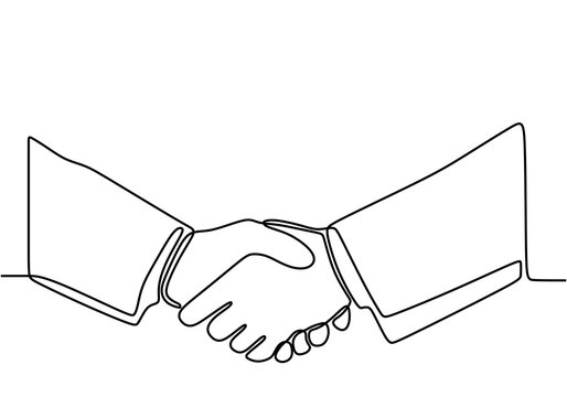 Continuous line drawing of handshake. Shaking hands of business partners drawn by one single line. Business agreement concept isolated on white background. Vector illustration graphic