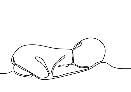 one line drawing illustration of a baby. Cute sleeping baby drawn from the hand a picture of the silhouette. Modern minimalism art. Little kid in the minimalist style. Vector illustration