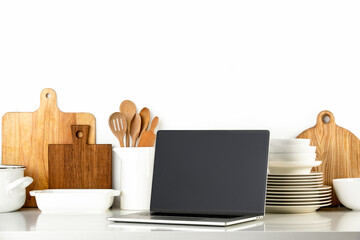 Contemporary Kitchen background with culinary utensils, front view