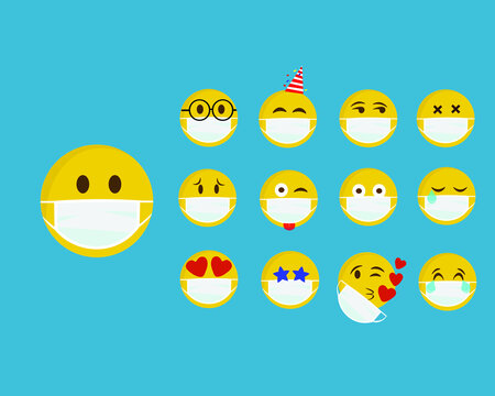 Set of emoji with a medical mask on the face. Different round yellow emoticons protect against the spread of coronavirus. Set of emojis for social networks, self-isolation. vector illustration