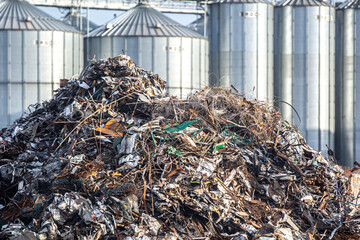 Scrap metal waste at the recycling facility.