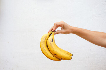 Hand holding bananas isolated in a white wall.