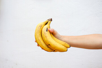 Hand holding bananas isolated in a white wall. Close up view.