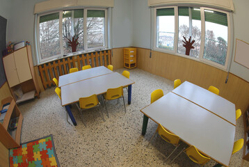 interior of a classroom of the nursery school without children