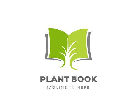 plant tree grow book garden document information logo symbol design illustration