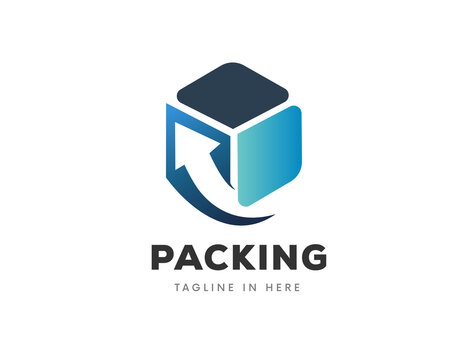 box with arrow packing delivery order logistic logo symbol design illustration