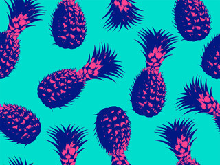 Seamless vector pop art pattern of pink and blue pineapple randomly distributed on blue background in vaporwave style design.