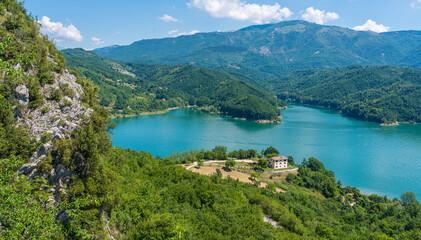 Panoramic view of Lago del Salto. Province of Rieti, Lazio, Italy.