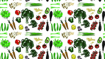 Bright pattern of vegetables on a transparent, black or color background. Tomatoes, broccoli, avocado, onions, eggplant, carrots, cucumbers, ginger, nuts. Can be placed on any background, transform.  Fotomurales