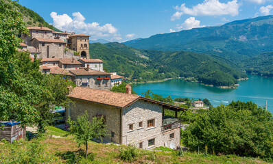 The beautiful village of Rocca Vittiana overlooking the Lago del Salto. Province of Rieti, Lazio, Italy.
