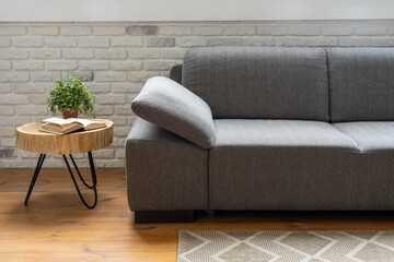 Comfortable couch in modern living room interior