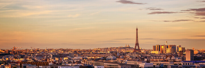 Wall Mural - Aerial panoramic view of Paris with the Eiffel tower at sunset, France and Europe city travel concept