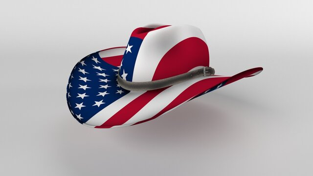 Isolated Stetson Hat with American Flag