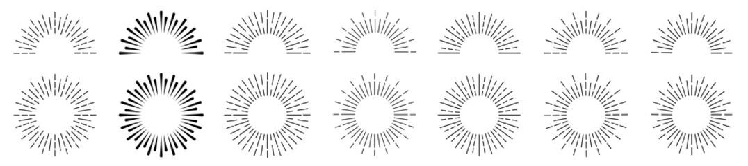 Obraz Sunburst set. Sunburst icon collection vector.Retro sunburst design.Big collection sunburst best quality. Burs.Sunrise rays light burst line shine sunshine sunbeam vintage border symbol  - fototapety do salonu