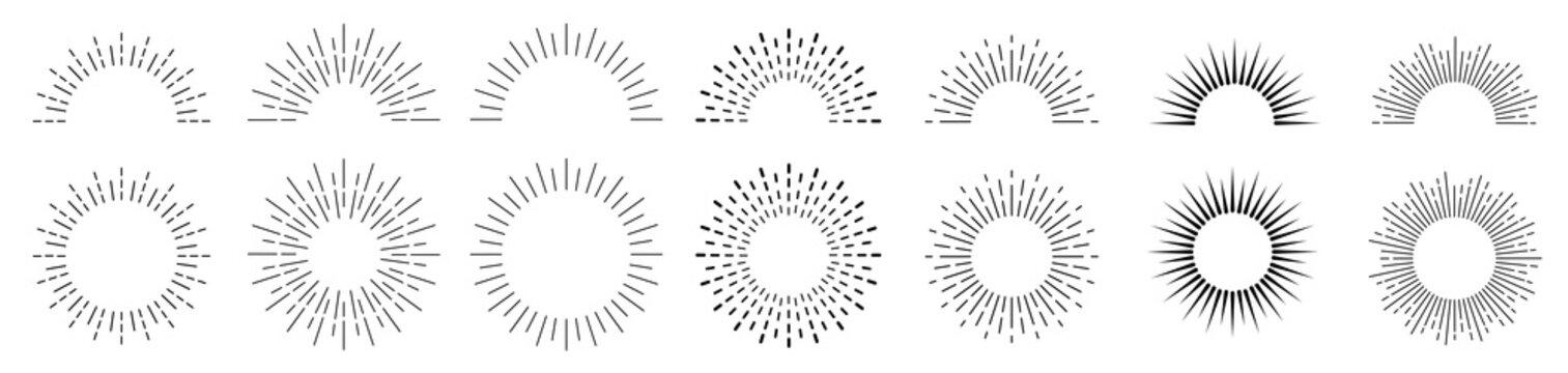 Sunburst set. Sunburst icon collection vector.Retro sunburst design.Big collection sunburst best quality. Burs.Sunrise rays light burst line shine sunshine sunbeam vintage border symbol.
