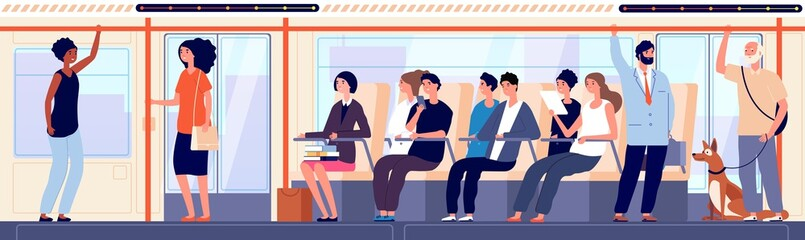 People in bus. Modern public urban transport inside, sitting student and female businessman. Crowd moving to destination vector illustration. Transport passenger, city bus, urban train travel inside