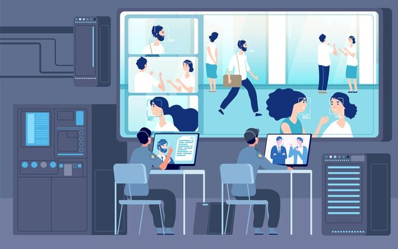 Control room. Security workers looking camera, cctv service. People id digital monitoring, surveillance or guard office vector illustration. Cctv and guard security, surveillance use camera