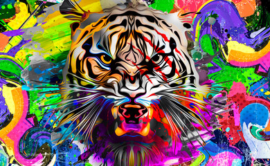 grunge background with graffiti and painted tiger