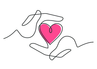 Continuous line drawing of red heart between two  human hands meaning care and love.  Vector illustration