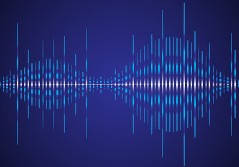 Sound wave vector isolated on blue background. Abstract sound waves for voice design, music background, wallpaper, radio logo and icon. Creative music concept, vector illustration