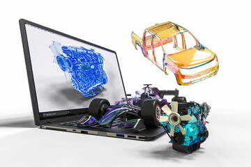 3D render image representing computer aided design  in automotive