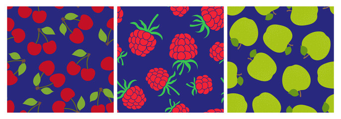 Berry and fruit seamless pattern set. Vector food fashion print. Red cherry, raspberry and green apple. Design elements for textile or clothes. Hand drawn doodle repeating delicacies. Cute background