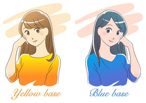 パーソナルカラー イエローベース・ブルーベースの女性