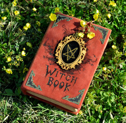 Hand crafted witch book with pentagram on the grass in the garden. Esoteric, gothic and occult...