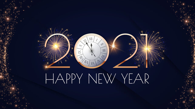 Happy new 2021 year Elegant gold text with fireworks, clock and light. Minimalistic text template.