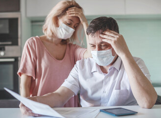 Couple worried about money problem during the pandemic coronavirus