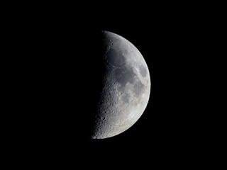 First quarter moon seen with telescope