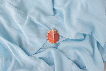 Blue installation - still life for blogger as blue background, modern art. Abstract with grapefruit...