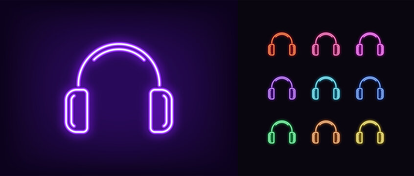 Neon headphones icon. Glowing neon earphone sign, set of isolated wireless headphones