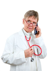 Doctor at phone serious