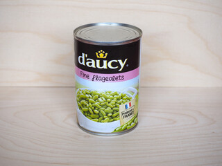 BRETAGNE - JUN 2020: D'Aucy canned flageolets beans