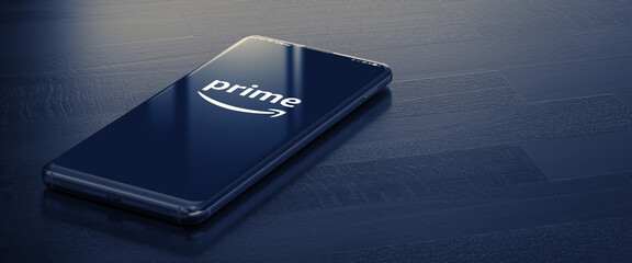 KYIV, UKRAINE-JANUARY, 2020: Amazon Prime on Mobile Phone Screen. A Smart Phone Lying on a Dark Surface with a Amazon Prime Application. Social Media Concept